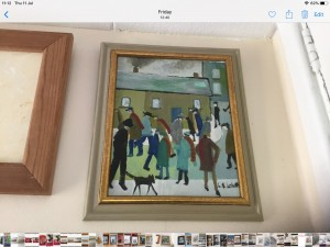 Oil painting on canvas signed after L S Lowry 12in 10in