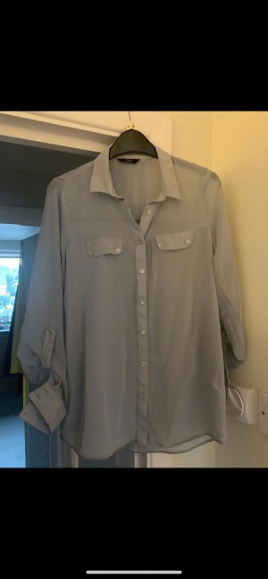 F+F grey sheer button down blouse with front pockets