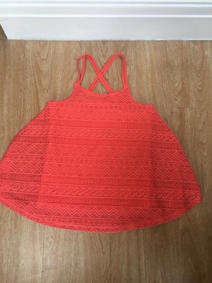 Candy Couture Floaty Coral Cross strap top (vest attached)