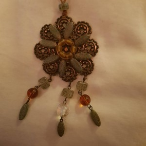 Copper Coloured Metal and Stone Bohemian Necklace