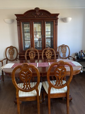 Six seater dining table & cabinet