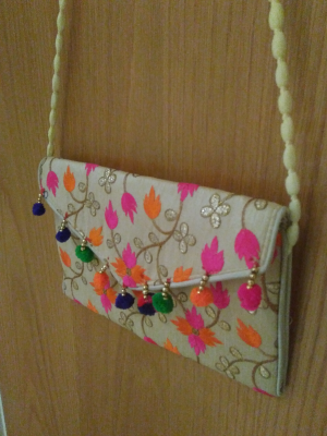 Colourful handcrafted traditional Indian embroidered shoulder bag