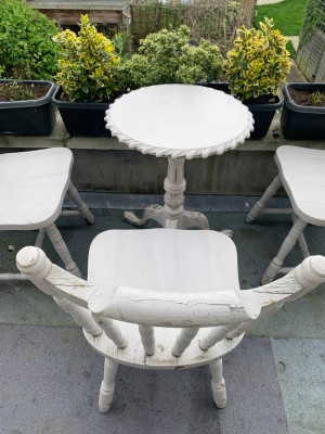 SOLID WOOD OUTDOOR terrace garden FURNITURE white shabby chic