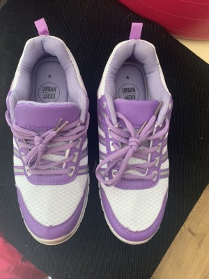 Purple and white trainers size 4