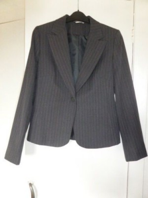 NEW 'George' Grey/Charcoal Pinstripe Suit Jacket - Size 10