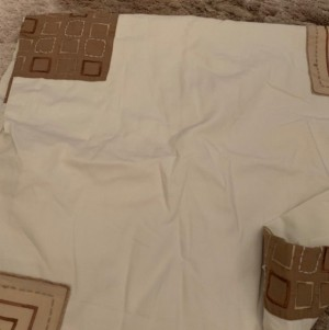 Cream And Brown Patterned Double Duvet Cover