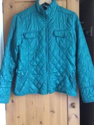 teal quilted jacket