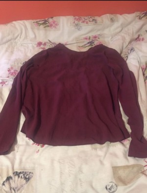 Cute purple /burgundy long sleeve blouse  Zip at the back And buttons