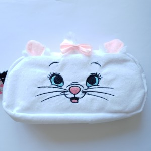 Disney Primark Marie White Fluffy Pink Bow Pencil Case Zipped