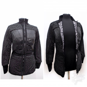Leather statement jacket with tribal lining
