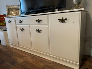 Storage unit stylish shabby chic style white. TV unit