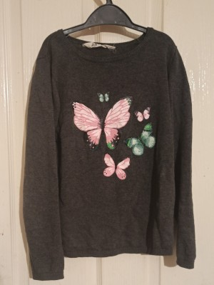 Grey sweatshirt with butterfly pattern for girls aegd 9-11.
