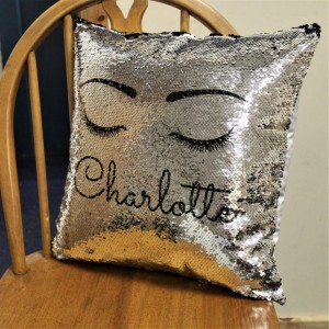 Personalised Black Sequin Eyelash Cushion