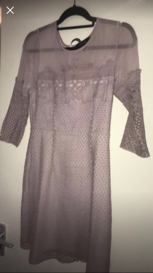 Lilac 3/4 sleeved lace/embroidered dress from new look size 12