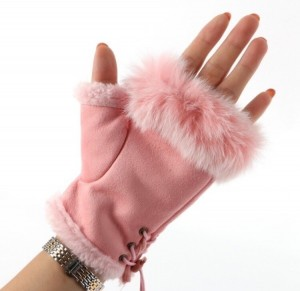 New pink suede and fur fingerless gloves. £10 PayPal payment and posted same day or next day thank you.