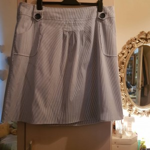 Evans Pretty Blue Striped and Lined Cotton Skirt Size 22