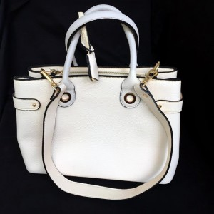 Leather Bag in Pearly White