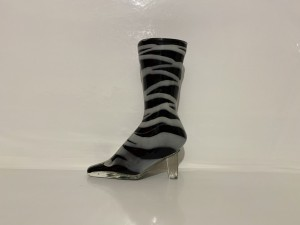 Vintage Murano Glass Art Lady Shoe Large Boot Design Black Gray Gifts