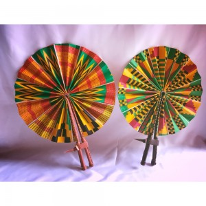 Lovely, bright African (Kente) leather fans. Foldable & easy to put away. Also perfect for the weather & any event. (More designs available- Delivery not included in price).