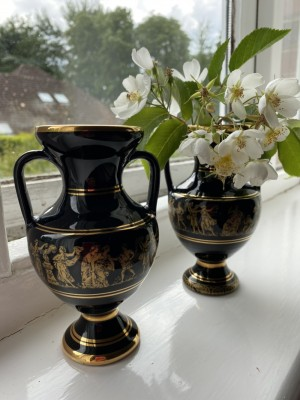24K gold painted Greek vase