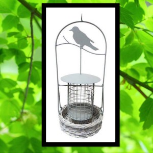 Zinc And Wicker Hanging Bird Feeder