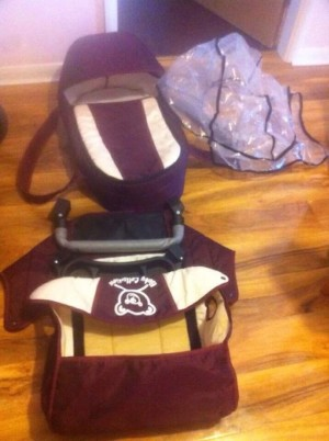 -Pram 3 in 1 carry cot, small baby bad in the back of the pram ,cup tray, safety bar , apron, hood ,shopping basket , rain cover , adjustable back rest,adjustable handle, adjustable leg rest -Rarely used, very clean and as new , very excellent condition -F