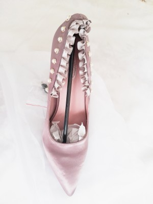 dusty pink court shoes silky women girls ladies size 5