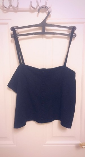 A Medium black womens top with spaghetti straps