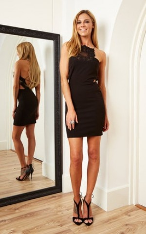 Black mini bodycon dress with lace panel