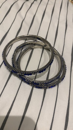 Silver and blue bangles