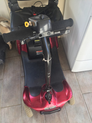 Pro Rider Elite Portable Mobility Scooter in Red 2015 Just had new battery's and full service. Nothing wrong with it at all. The red panels have a few marks just from general Scratches here and there but nothing bad. Only selling due to my daughters disabi
