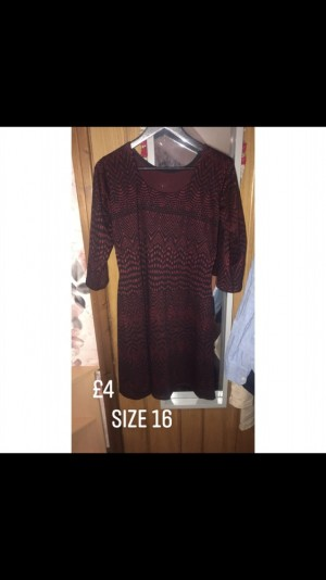 Ladies Red And Black Patterned Dress