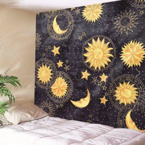 Fabric Wall Tapestry/Throw Sun and Moon 90 x 70 Inches Free P+P