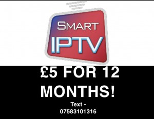SMART IPTV 12 MONTHS £5 ( ALL UK CHANNELS+MORE)