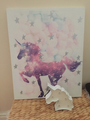 Unicorn canvas picture and night light