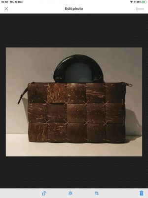 Brown Tiled Polished Natural Coconut Shell Handcrafted Hand Bag