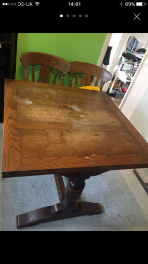 Antique Extending Dining Table and 4 Chairs