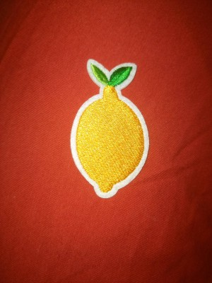 lemon iron on patch or sew on patch indie