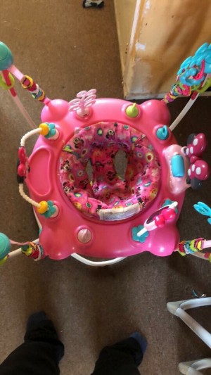 Minnie Mouse jumperoo  Good condition my little girl has used it for the last 7months paid £100 for it.  The seat does turn round 360 degrees.  Makes sounds when you bounce in it.