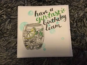 Watercoloured Gin card, personalised