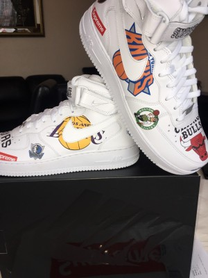 Supreme x Nike x NBA Teams Air Force 1 mid - White - UK 10.5