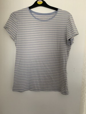 Ladies light blue and white primark T-shirt size 16