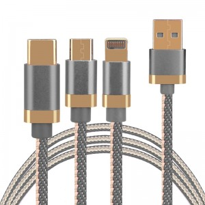 3 in 1 Portable Type C Micro 8pin USB Braided Charging Cable 1.2M-Grey