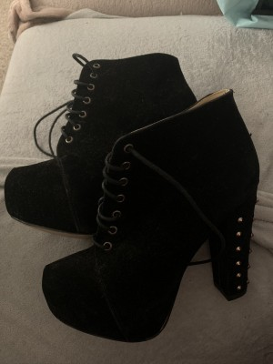 Black studded high heals size 8