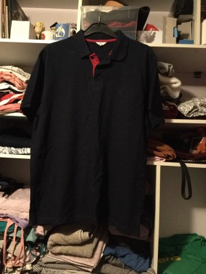 Men's Cotton Traders Black & Red Polo Shirt - Size Large