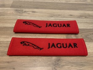 2X Seat Belt Pads Cotton Red Gifts Jaguar XE XF XJ XJS XK8 XKR EFSX Ty