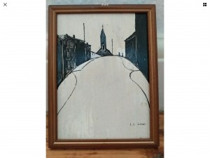 Original oil painting on panel signed L S Lowry 10in 8in