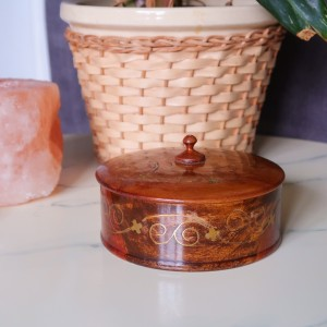Vintage Hand Turned Wooden Trinket Jewellery Box with Brass Inlay