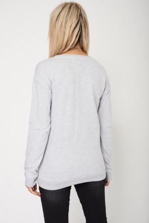 Long Sleeved Casual Sweatshirt With Print