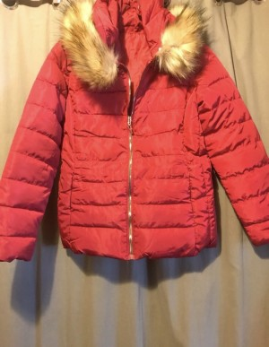 Brand New! Red Faux fur hooded puffer coat